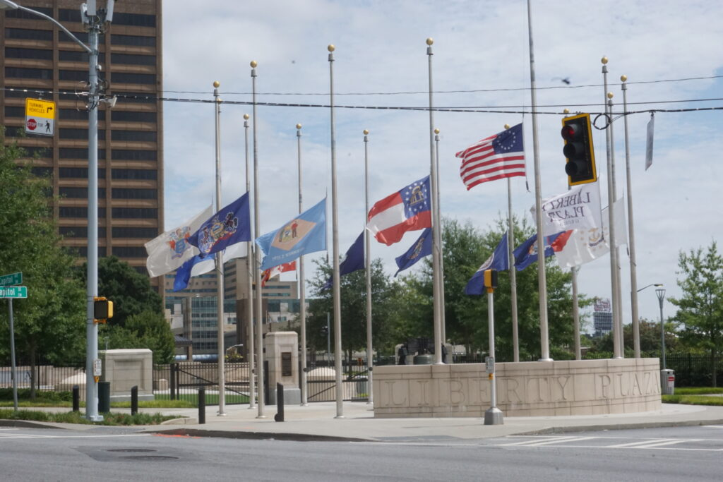 The flags at the Georgia State Capitol's Liberty Plaza