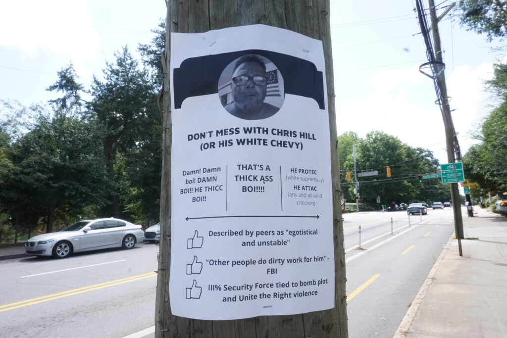 A comical notice about Chris Hill stapled on an electrical pole off 10th street by Piedmont Park
